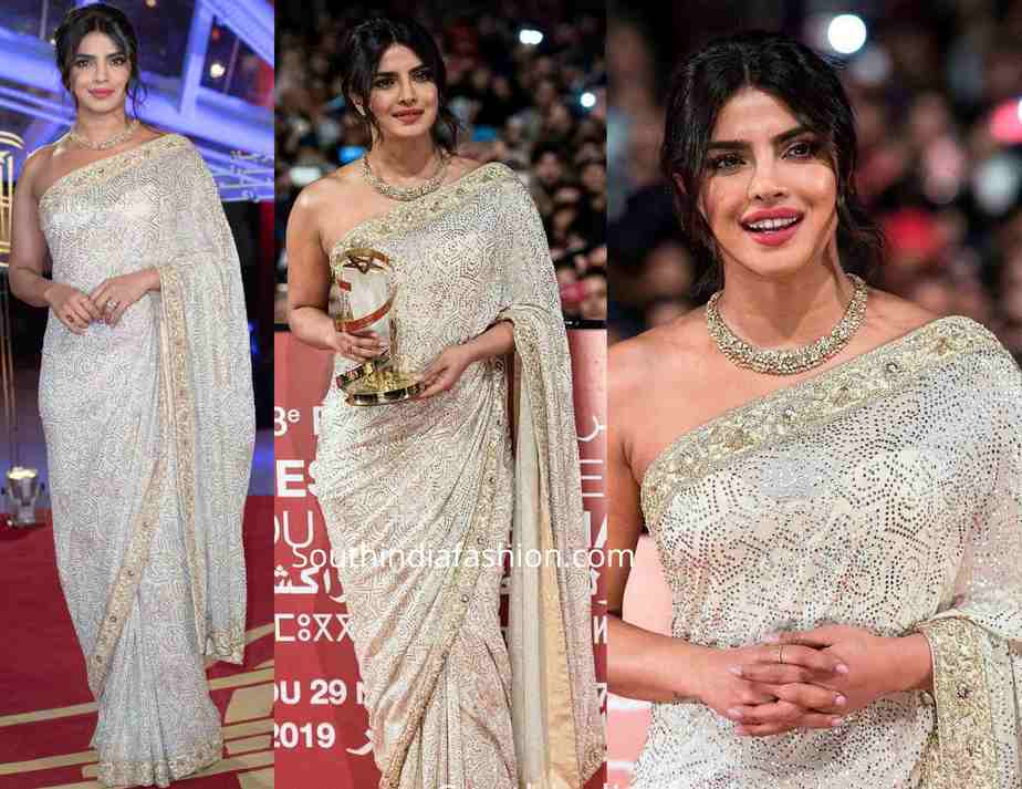 priyanka chopra cream saree at marrakeck film festival
