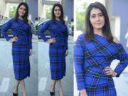 raashi khanna blue checkered dress