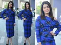 raashi khanna blue checkered dress