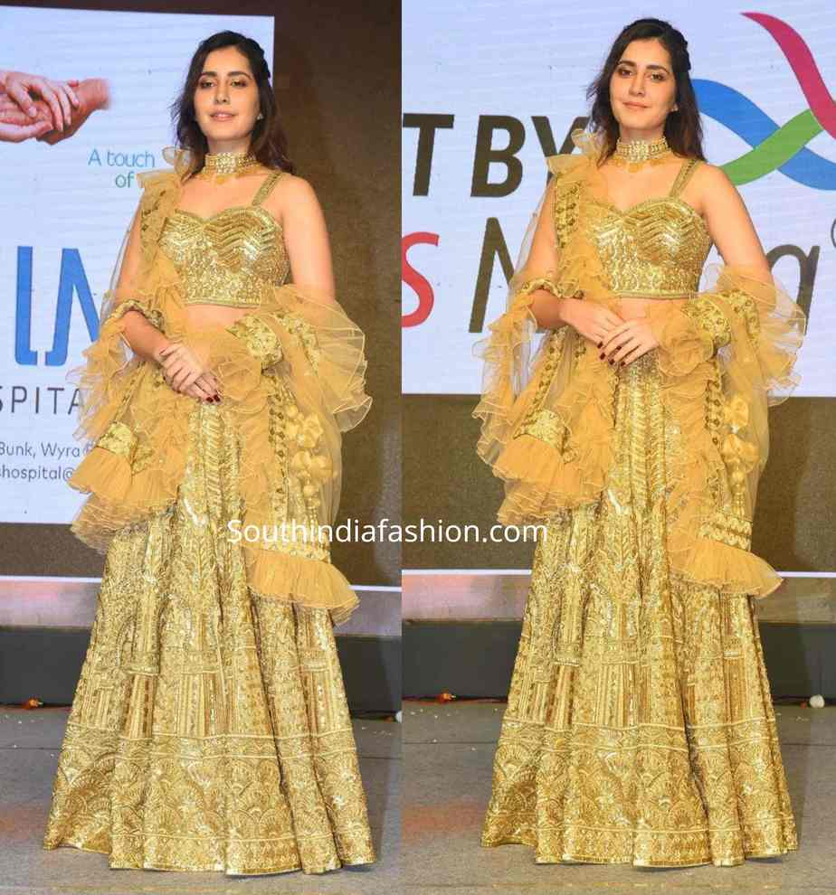 raashi khanna in a gold lehenga at venky mama pre release event (1)