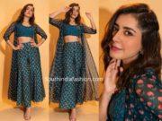 raashi khanna in blue printed palazzos with shrug