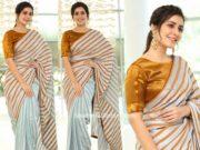 raashi khanna in striped saree at prathi roju panduge movie thanks meet
