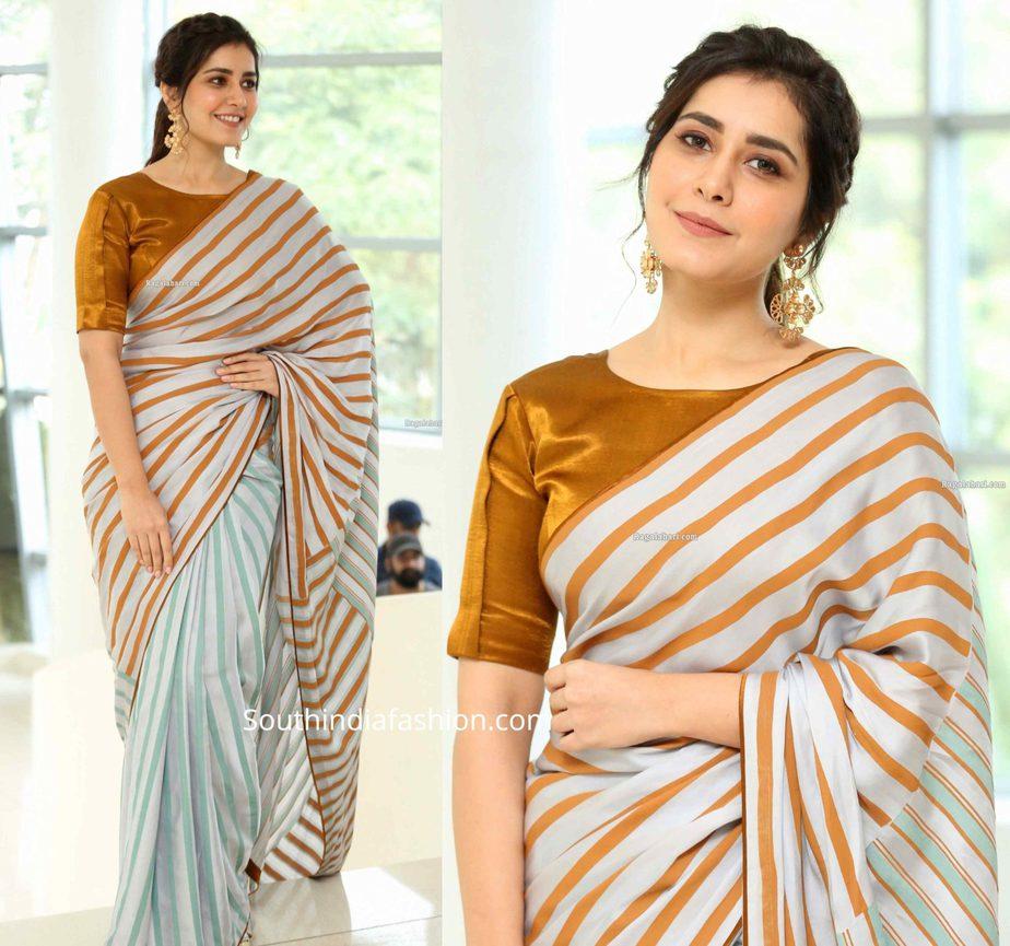 raashi khanna in striped saree