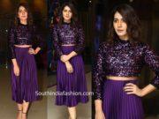 raashi khanna purple skirt and sequin crop top