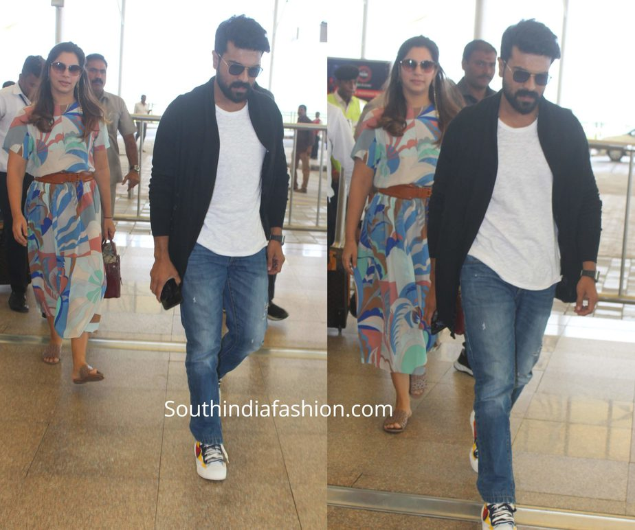ram charan and upasana at airport