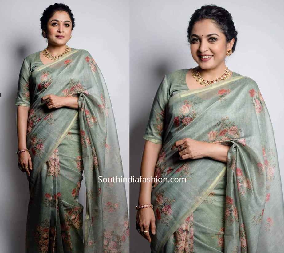 ramya krishna floral saree for queen promotions