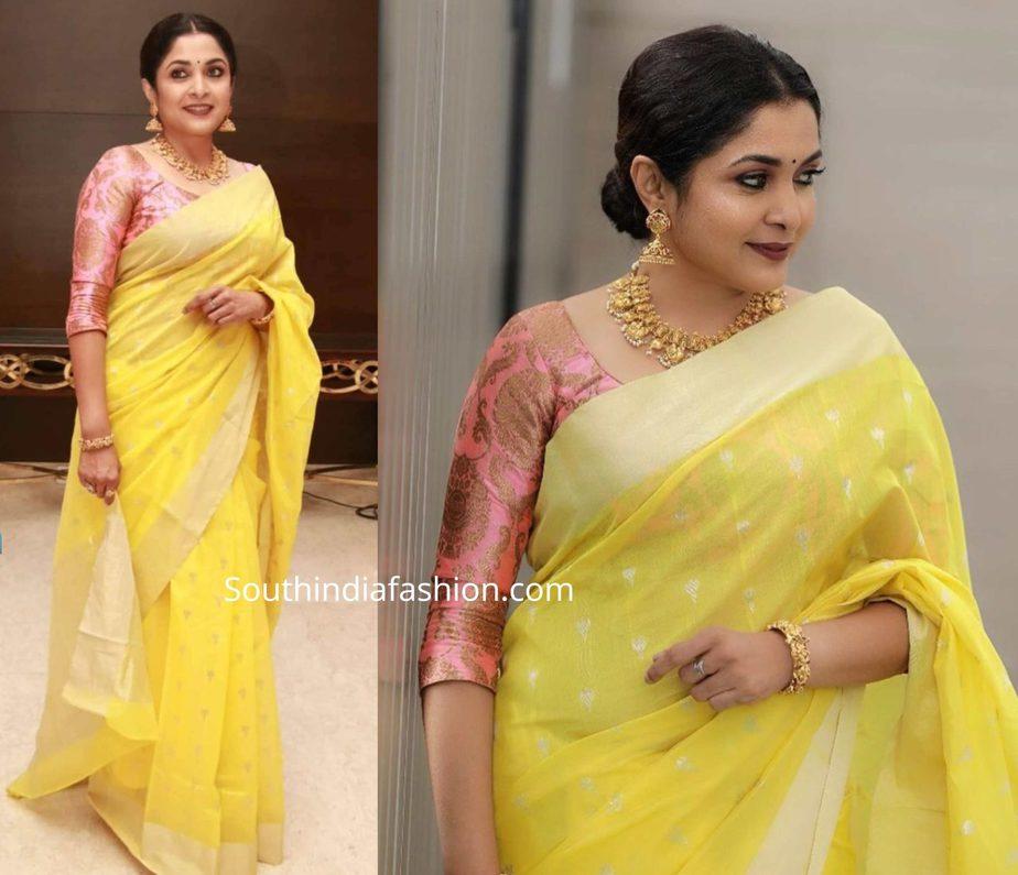 ramya krishnan in yellow saree at queen press meet