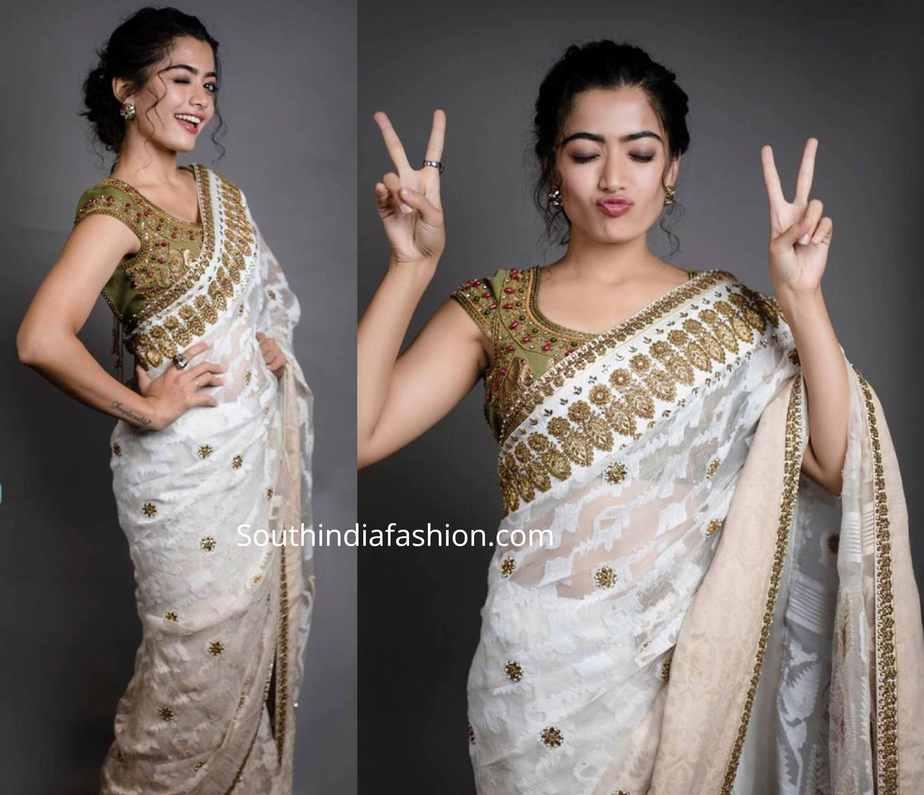 rashmika mandanna in a white saree at behindwoods gold medal awards