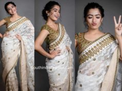 rashmika mandanna in a white saree at behindwoods gold medal awards