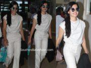 rashmika mandanna white dress at airport
