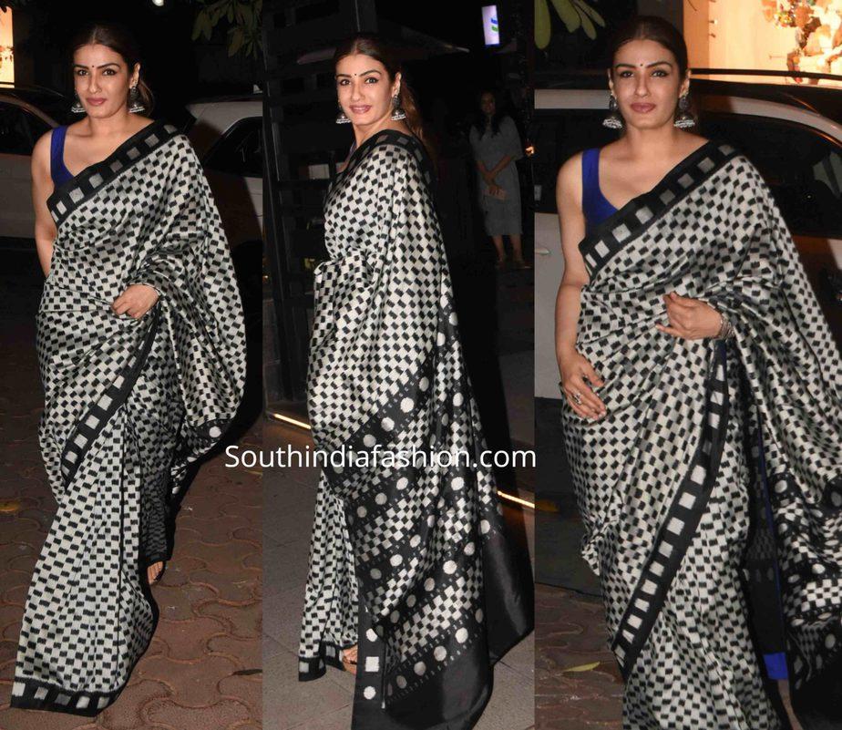 raveena tandon in printed saree