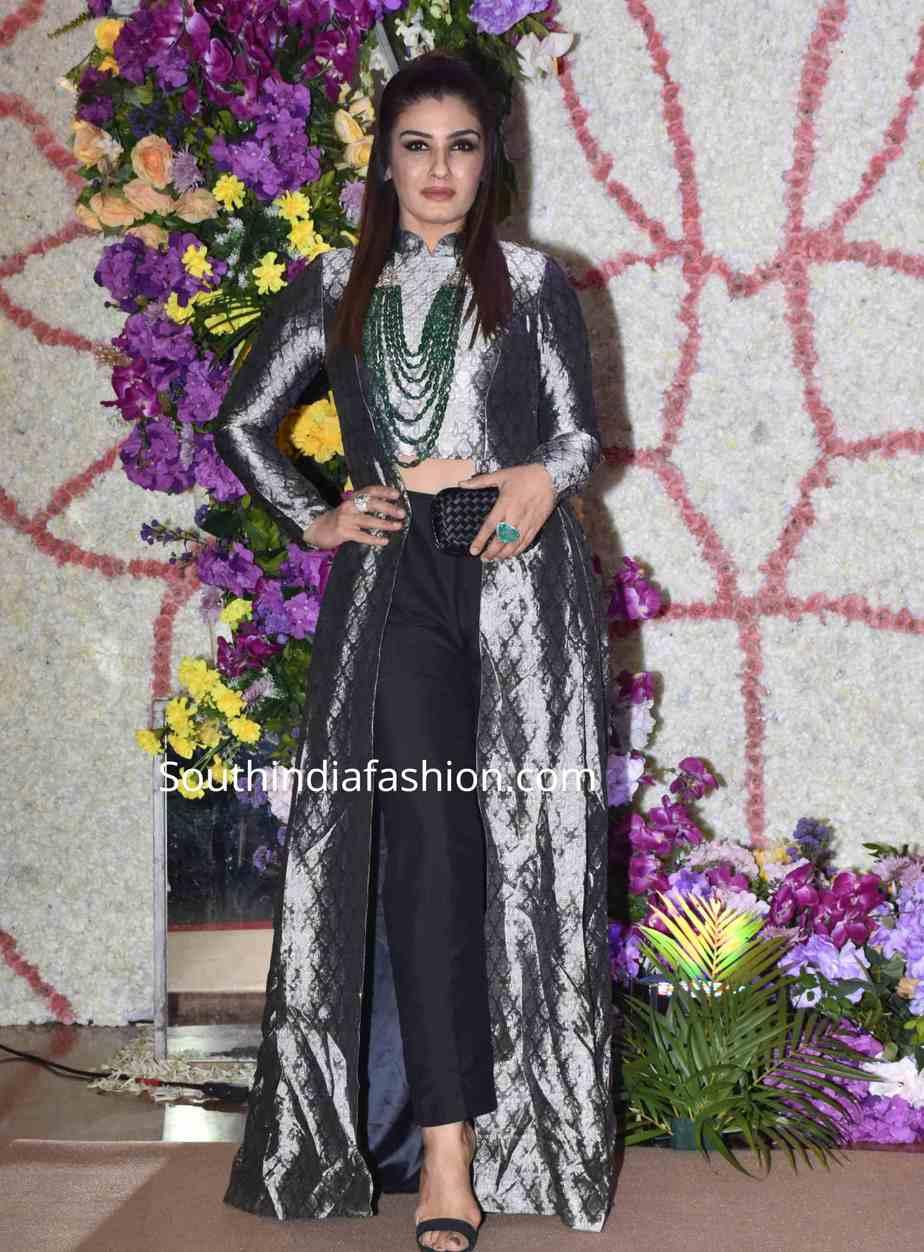 raveena tandon indo western dress at a wedding reception