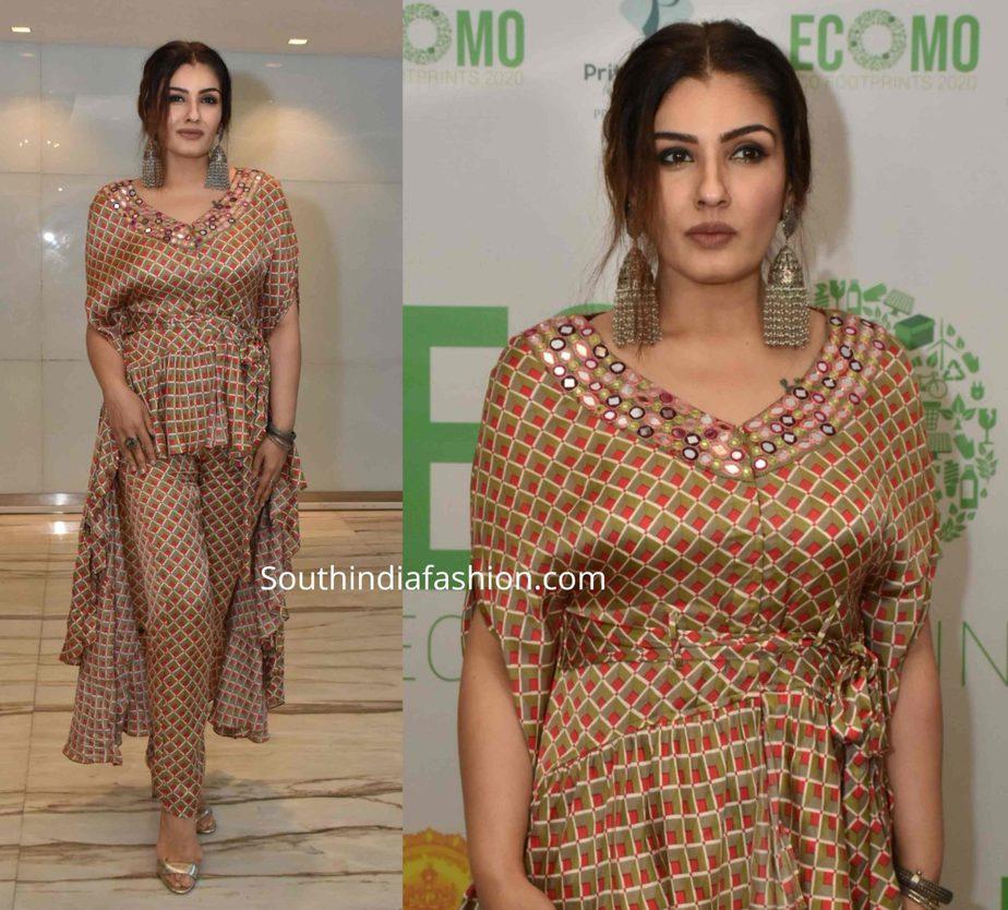 raveena tandon printed indo western dress