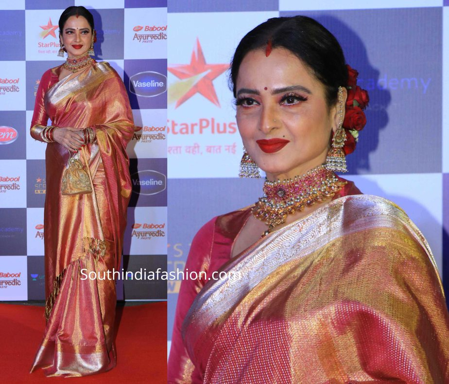 rekha in pink kanjivaram saree at star screen awards 2019 (2)