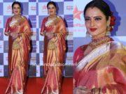 rekha in pink kanjivaram saree at star screen awards 2019 (2)