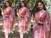 saiee manjrekar pink salwar kameez at dabangg 3 promotions