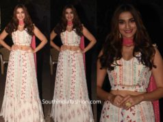 saiee manjrekar in white lehenga at dabangg 3 promotions