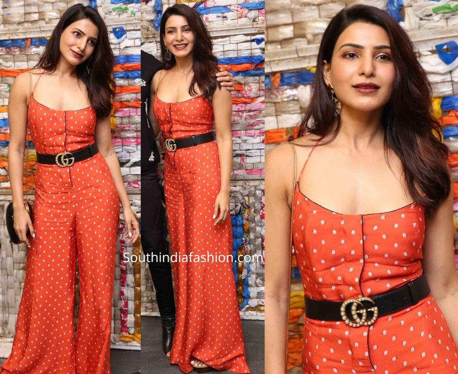samantha akkineni in red jumpsuit at wildest dreams fundraiser