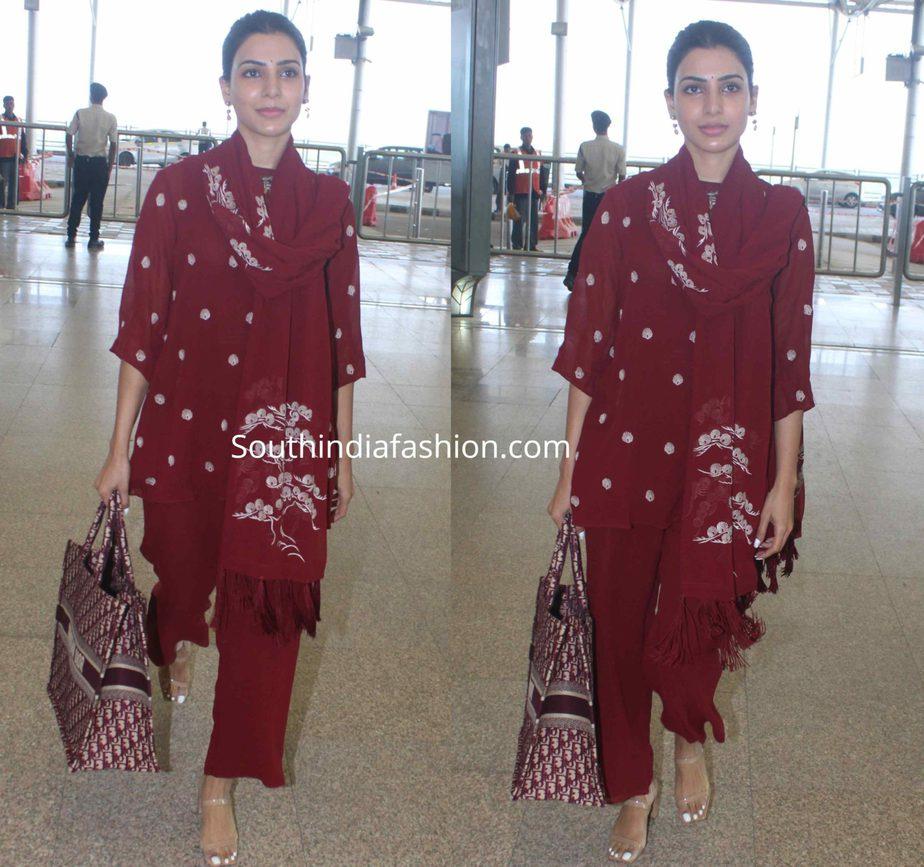 samantha akkineni in red kurta set at hyderabad airport (1)