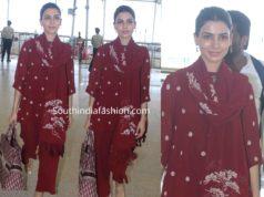 samantha akkineni in red kurta set at hyderabad airport