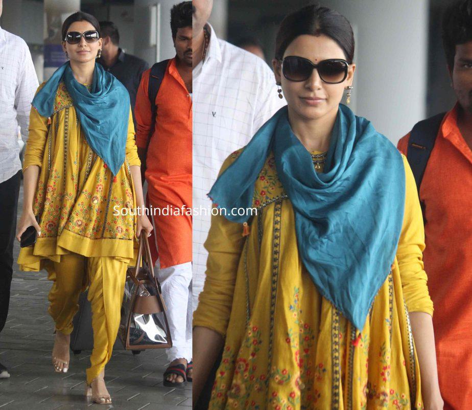 samantha akkineni yellow kurti dhoti pants at airport (1)
