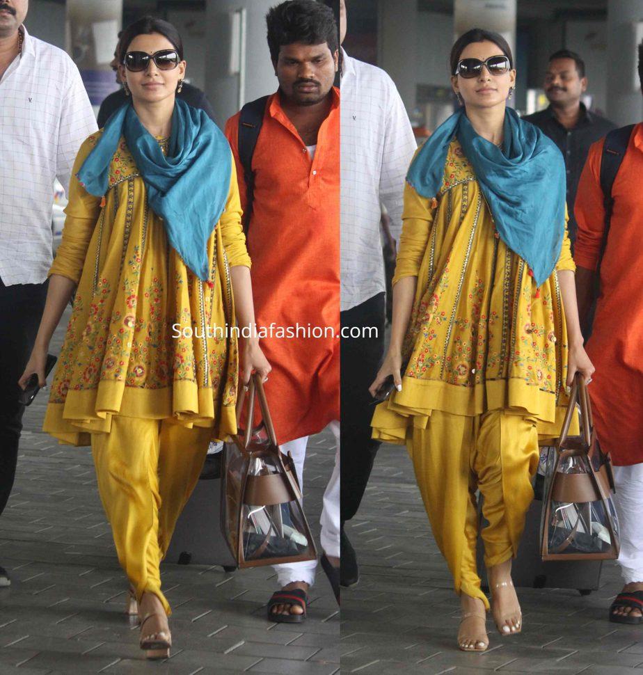 samantha akkineni yellow kurti dhoti pants at airport (2)