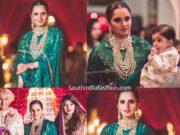 sania mirza in green sharara at her sister anam mirza wedding