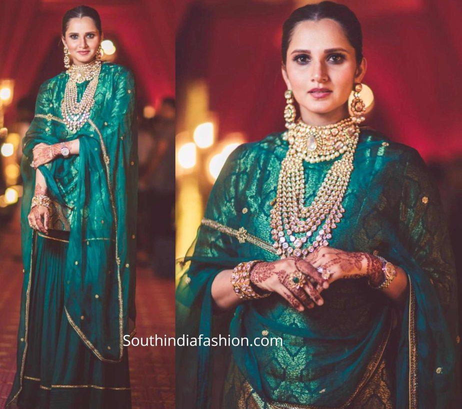sania mirza in green sharara at her sister anam mirza wedding (3)