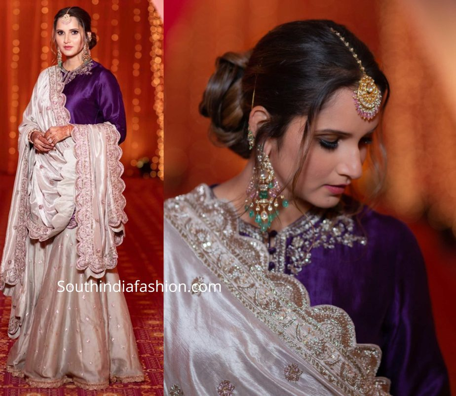 sania mirza in purple and ivory sharara suit by jayanti reddy at her sister mehendi
