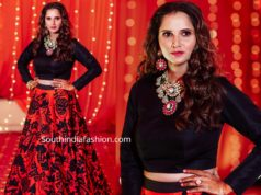sania mirza in red and black long skirt and crop top at her sister mehendi