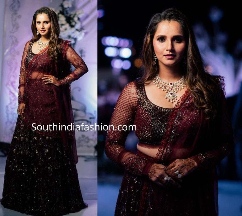 sania mirza lehenga at her sister wedding reception