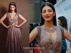 shruti haasan in grey gown at filmfare awards south