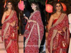 shweta bachchan in red bandhani saree at gyaan project gala (1)