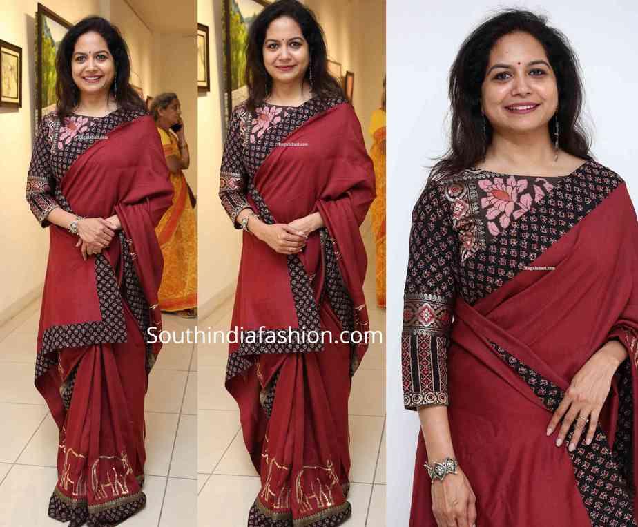 singer sunitha maroon saree