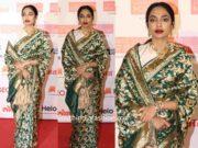 sobhita dhulipala in green banarasi silk saree at lokmat most stylish awards