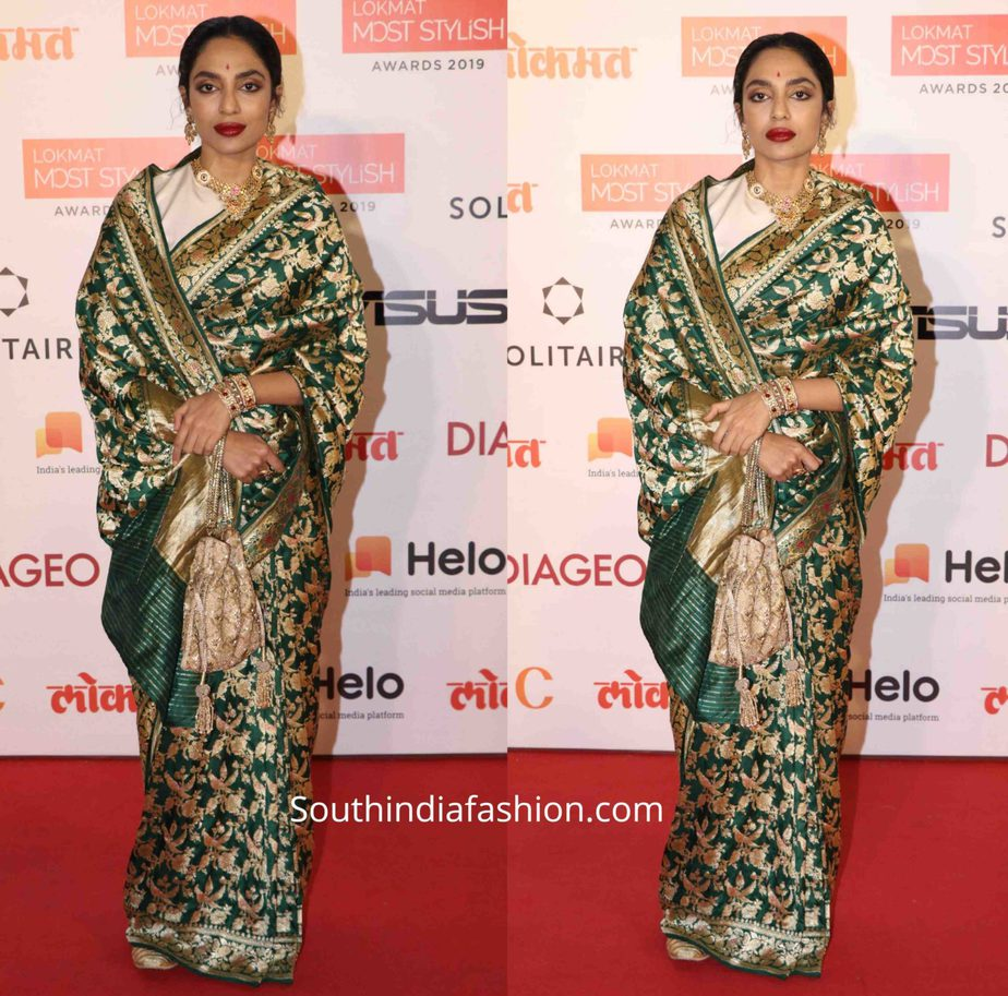 sobhita dhulipala in green banarasi silk saree at lokmat most stylish awards (2)