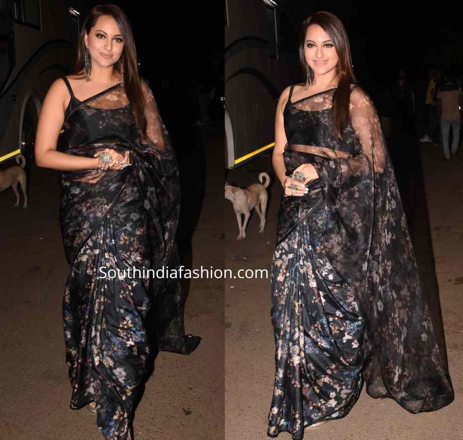 sonakshi sinha black floral saree at dabangg 3 promotions kapil sharma show (2)