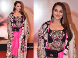 sonakshi sinha in anamika khanna dress at dabangg 3 screening