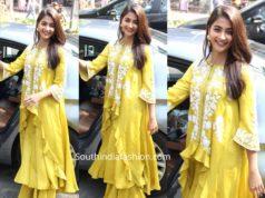 sonakshi sinha in pooja hegde in yellow kurta palazzo suit anarkali suit at dabangg 3 promotions