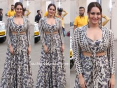 sonakshi sinha in printed lehenga at dabangg 3 promotions