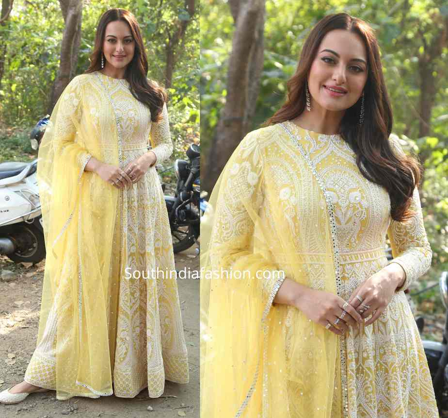sonakshi sinha in yellow anarkali suit at dabangg 3 promotions (1)