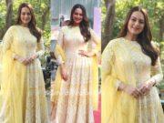 sonakshi sinha in yellow anarkali suit at dabangg 3 promotions