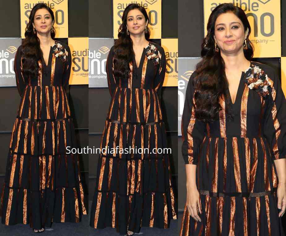 tabu in black and copper striped gown