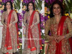 tabu red and gold anarkali at a wedding reception