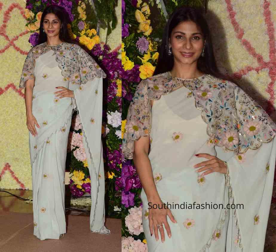 tanisha mukerji saree with cape (2)
