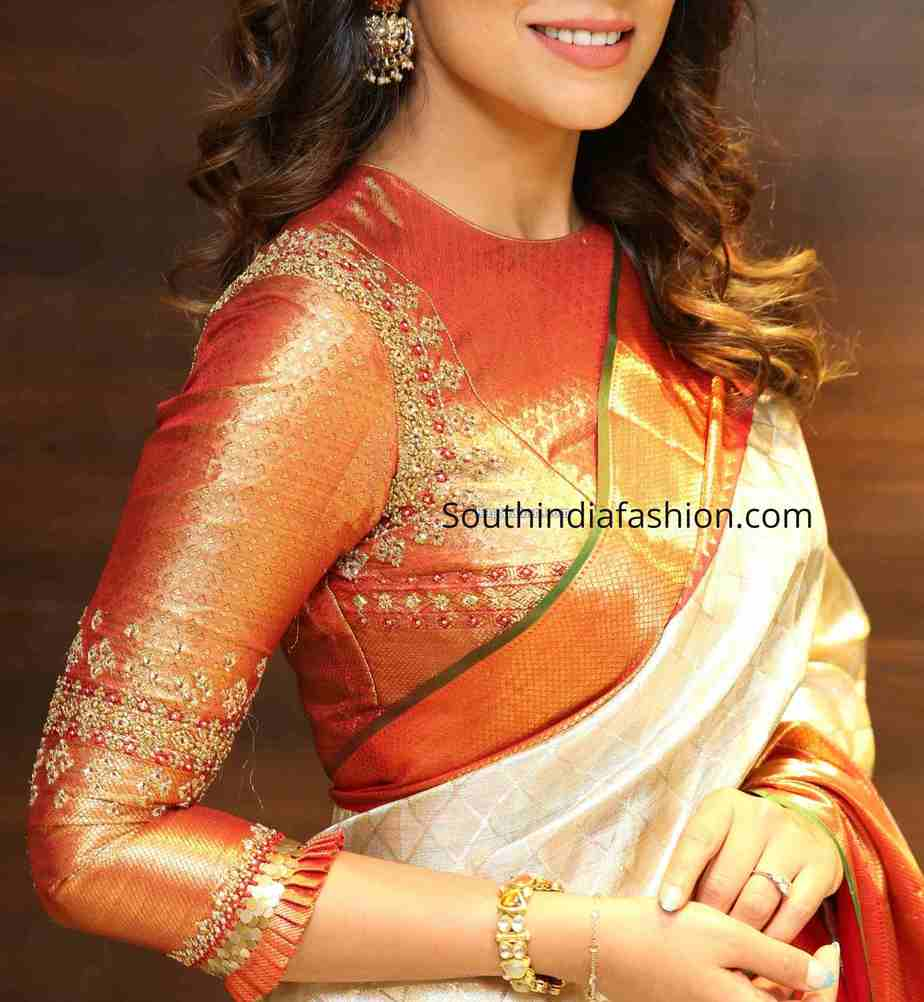 three quarter sleeves maggam work blouse