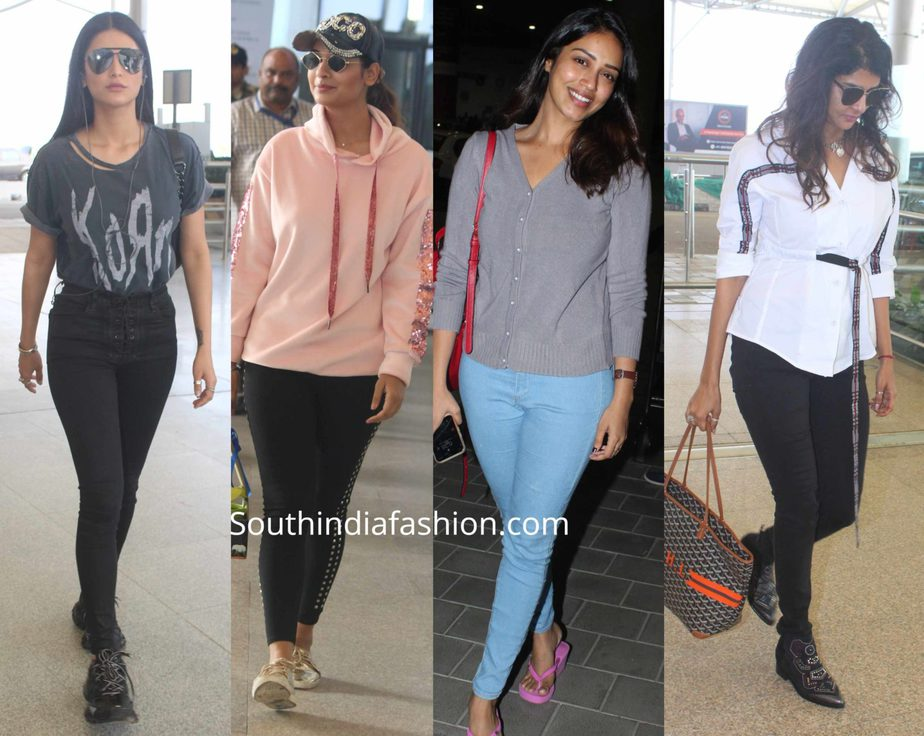 tollywood celebrities at hyderabad airport