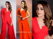 trisha krishnan in red dress at filmfare awards south 2019 (2)