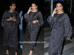 vidya balan in black salwar kameez at airport