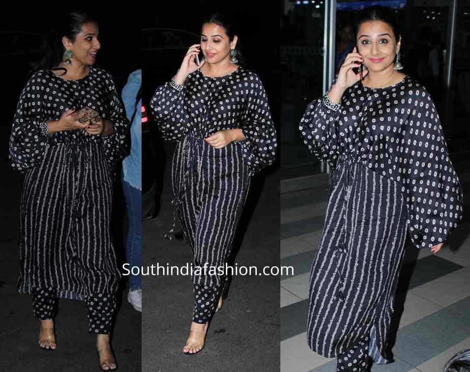 vidya balan in black salwar kameez at airport